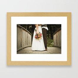 flowers on bridge Framed Art Print