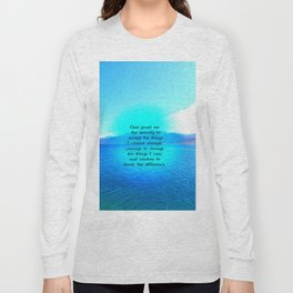 Serenity Prayer With Blue Ocean and Amazing Sky Long Sleeve T-shirt