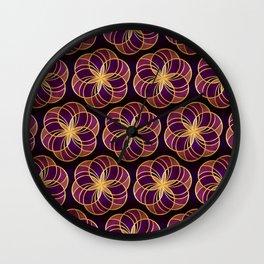Gold Foil Six Round Petals Lavender on Black Wall Clock