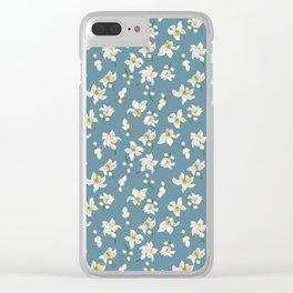 Romantic Blue Pattern Theme Clear iPhone Case