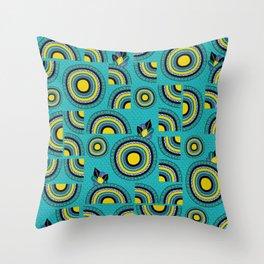African teal hand-drawn cropped Mandalas Throw Pillow