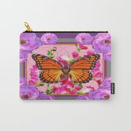 Puce-Purple-Pink Floral Monarch Butterfly Abstract Carry-All Pouch