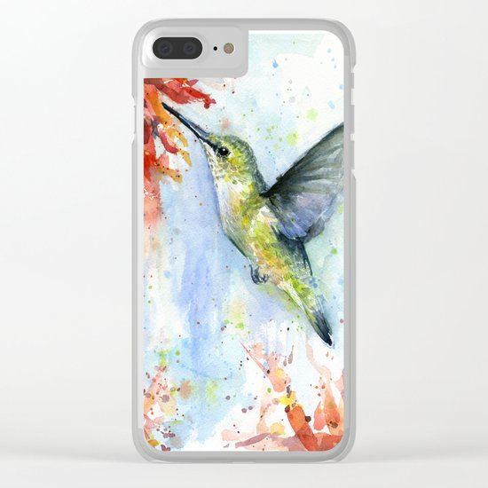 Hummingbird Red Flower Watercolor Bird Clear iPhone Case