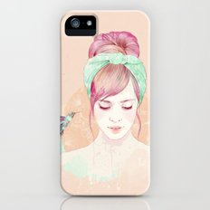 Pink hair lady iPhone (5, 5s) Slim Case