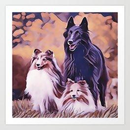 Shetland Collies and Belgian Shepherd Art Print