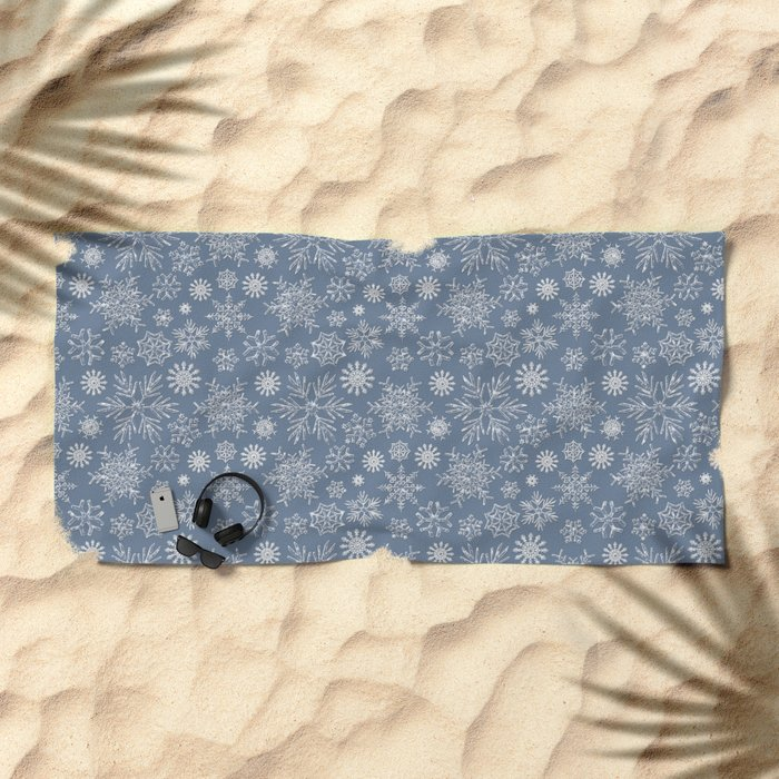 Merry Christmas- Abstract christmas snow star pattern on fresh grey Beach Towel