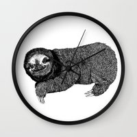 sloth Wall Clocks featuring Sloth by E.K Lux