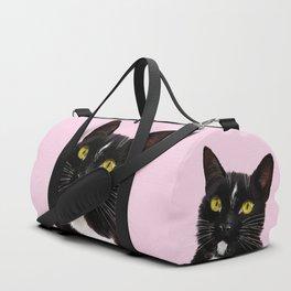 Black Cat in Pink Duffle Bag