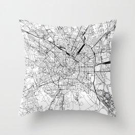 Milan White Map Throw Pillow