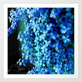 Periwinkle Blue Flowers Cascading Down Green Planter Art Print