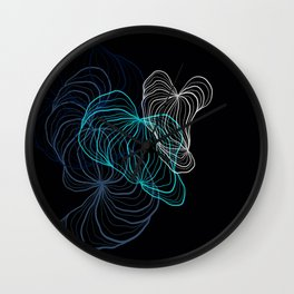 Gray, blue and white / digital drawing Wall Clock