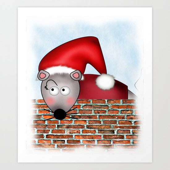 Christmas Mouse Art Print