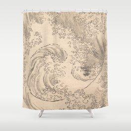 Wave by Katsushika Hokusai 1760–1849, Japanese Shower Curtain