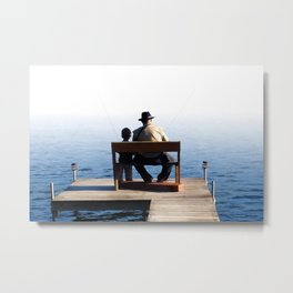 Grandson and Grandfather fishing on the end of a Boat Metal Print