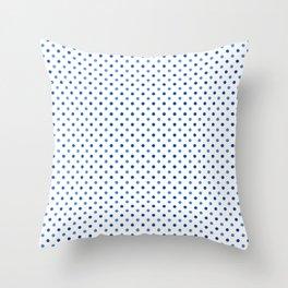 Geometrical trendy navy blue white polka dots pattern Throw Pillow