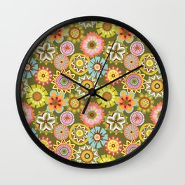 "Button Flowers-""Believe"" Colorway Wall Clock"