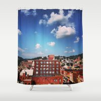 paper towns Shower Curtains featuring towns of steel by neverqueenkirk