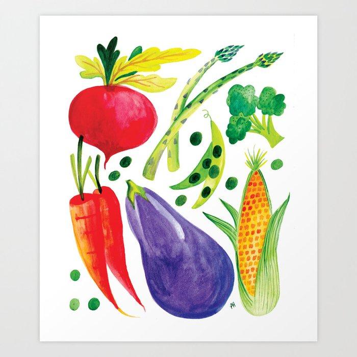 Veg Out - Vegetable, Veggies, Watercolor, Food, Beet, Carrot, Pea Art Print