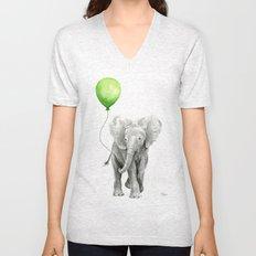 Baby Elephant Watercolor Green Balloon Neutral Color Nursery Decor Unisex V-Neck