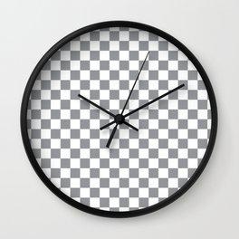 Grey Checkerboard Pattern Wall Clock