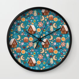 gingerbread houses, gingerbread, caramel cane, orange, cinnamon, pudding, spices, star anise, snowfl Wall Clock