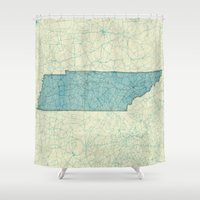 tennessee Shower Curtains featuring Tennessee State Map Blue Vintage by City Art Posters