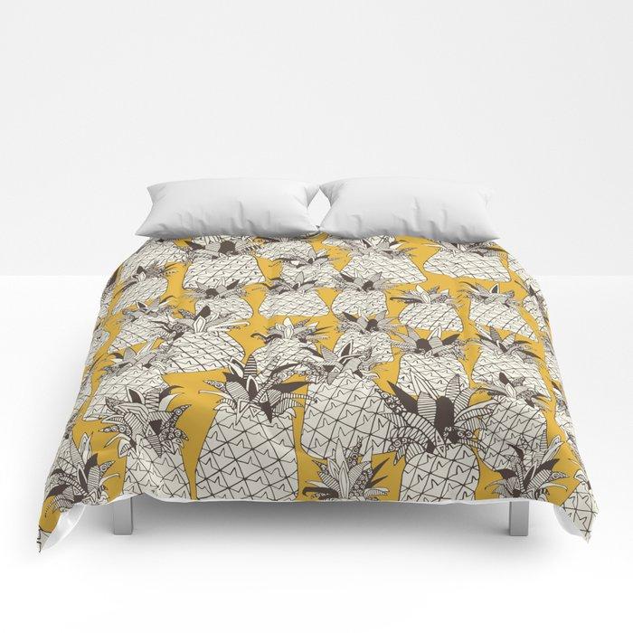 pineapple sunshine yellow Comforters
