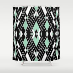 Art Deco Zoom Mint Shower Curtain