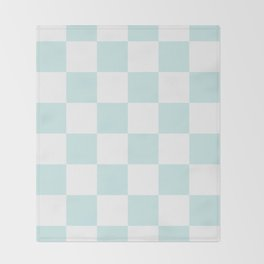 Large Checkered - White and Light Cyan Throw Blanket