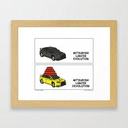 """Lancer Evolution"" -  Stuck in Reverse comic strip Framed Art Print"