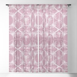Pink Dragonfly Pattern Sheer Curtain