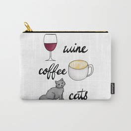 Wine Coffee Cats Carry-All Pouch