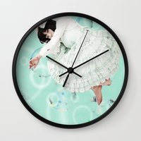 magical girl Wall Clocks featuring Less than magical girl by Anthony Hery