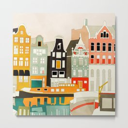 Amsterdam travel city shapes abstract Metal Print