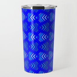 Pattern of intersecting hearts and stripes on a blue background. Travel Mug