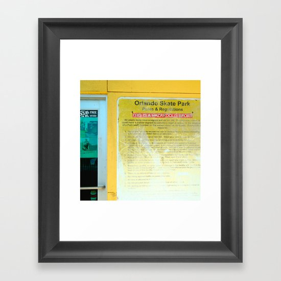 #HAZARDOUS SPORT - SKATE PARC ORLANDO, USA by Jay Hops Framed Art Print