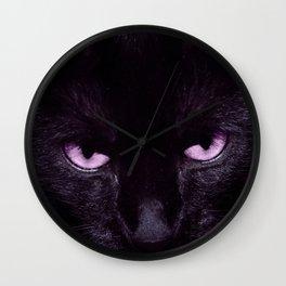 Black Cat in Amethyst - My Familiar Wall Clock