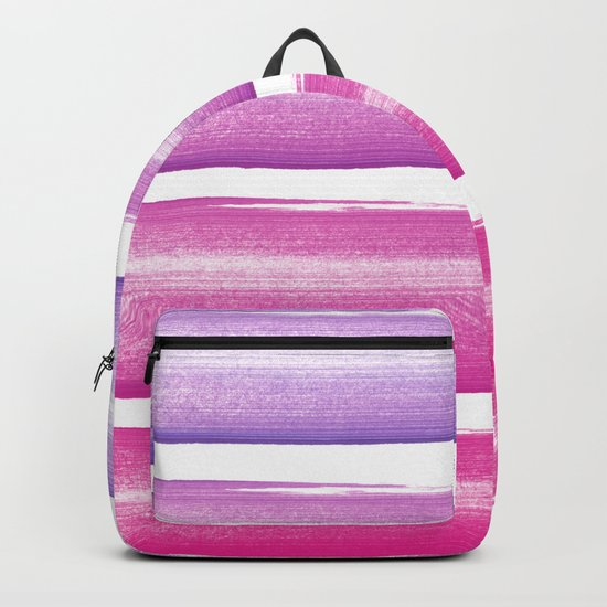 Simply hand-painted pink and magenta stripes on white background  2-Mix and Match Backpack