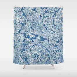 Blue Boho Paisley Pattern Shower Curtain