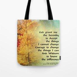 Serenity Prayer Autumn Trees on Green Tote Bag