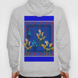 Blue Art White Calla Lilies Red Patterns Hoody