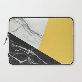Black and White Marble with Pantone Primrose Yellow Laptop Sleeve