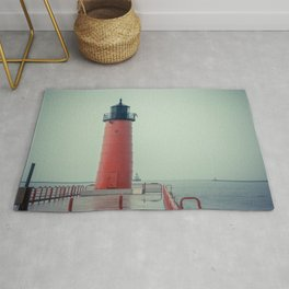 Milwaukee Pierhead and Breakwater Lighthouse Lake Michigan Wisconsin Light Station Rug