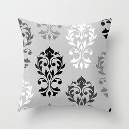Heart Damask Art I Black White Greys Throw Pillow