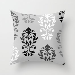 Heart Damask Art I Black White Greys Throw Pillow