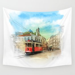Old tram in Istanbul Wall Tapestry