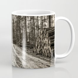 Poltery Site (Wood Storage Area) After Storm Victoria Möhne Forest 5 sepia Coffee Mug