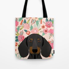 Dachshund florals cute pet gifts black and tan dachshund gifts for dog lover with weener dog Tote Bag