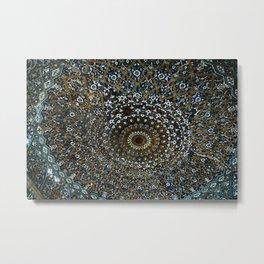 Persian Ornamental Tile Mosaic Ceiling, Shiraz, Persia, Iran Metal Print