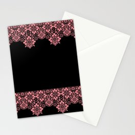 Retro .Vintage . Pink lace on a black background . Stationery Cards